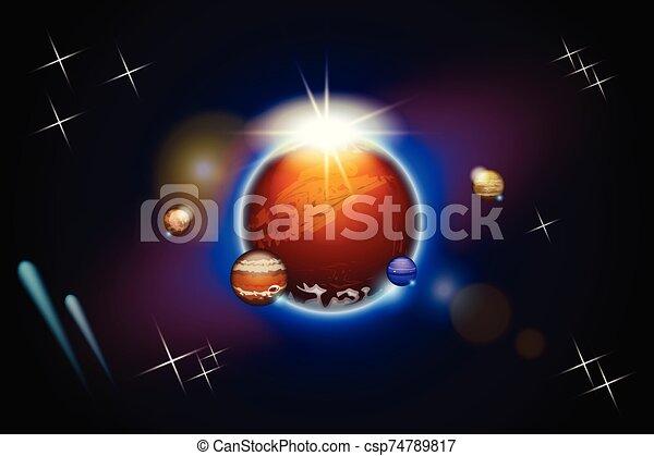 pianeti, spazio, un po' - csp74789817
