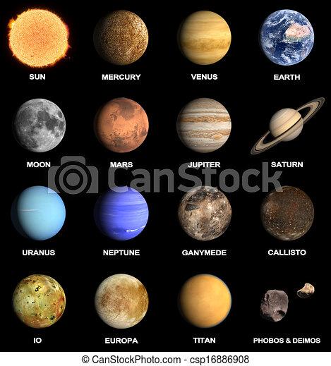 pianeti, un po', sistema, solare, lune - csp16886908