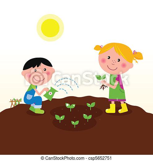 piantatura, bambini, giardino, piante - csp5652751