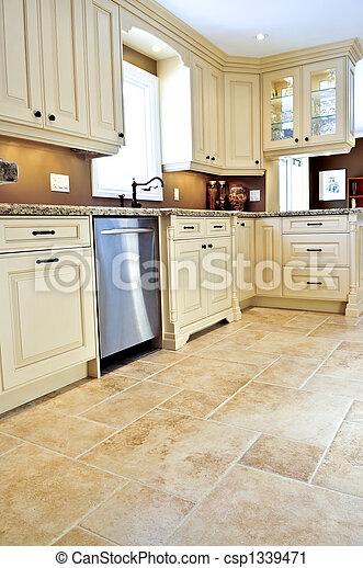 piastrella, moderno, pavimento, cucina - csp1339471