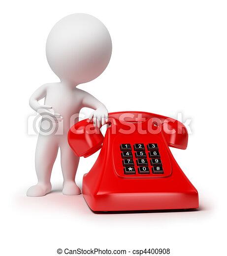 piccolo, 3d, -, telefono, persone - csp4400908