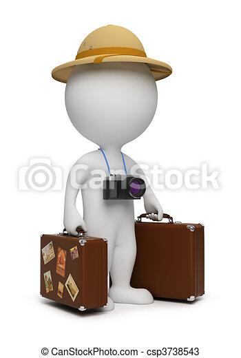 piccolo, 3d, -, turista, persone - csp3738543