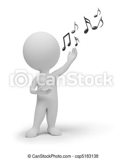 piccolo, cantante, 3d, -, persone - csp5183138