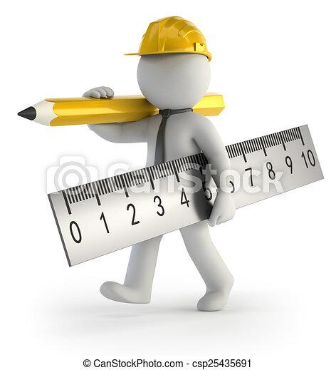 piccolo, costruttore, 3d, -, persone - csp25435691