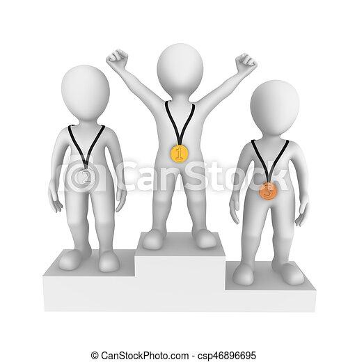 piccolo, persone., winner., 3d - csp46896695