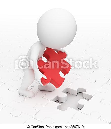 piccolo, puzzle, 3d, -, persone - csp3567619