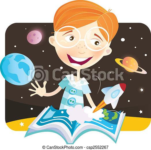 piccolo, ragazzo, libro storia - csp2552267