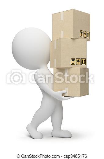 piccolo, scatole, 3d, -, persone - csp3485176