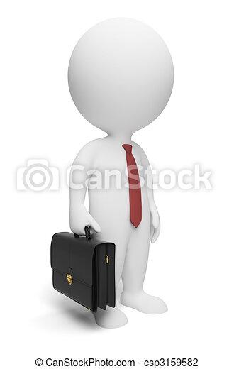 piccolo, uomo affari, 3d, -, persone - csp3159582