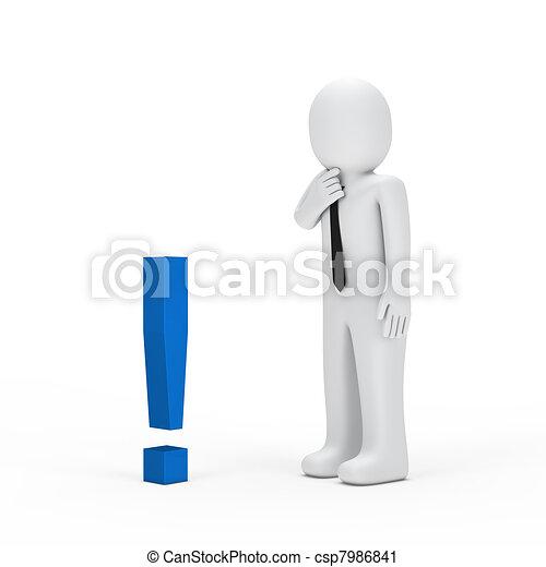 piccolo, uomo affari, esclamazione, blu, marchio - csp7986841