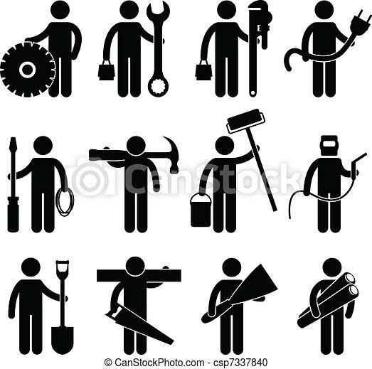pictog, lavoro, lavoratore costruzione, icona - csp7337840