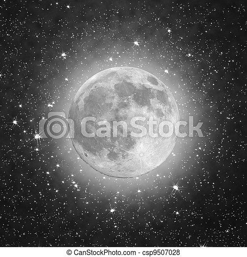 pieno, nero, stelle, luna - csp9507028