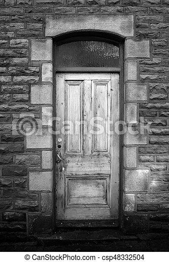 pietra, vecchio, casa legno, parete, sbiadito, porta - csp48332504