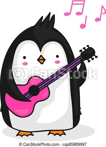 pinguino, chitarra esegue - csp85989997
