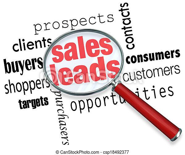 piombi, prospettive, vendita, clienti, ricerca, vendite, opportunità, specchio, parole, sotto, risultato, nuovo, ingrandendo, illustrare - csp18492377