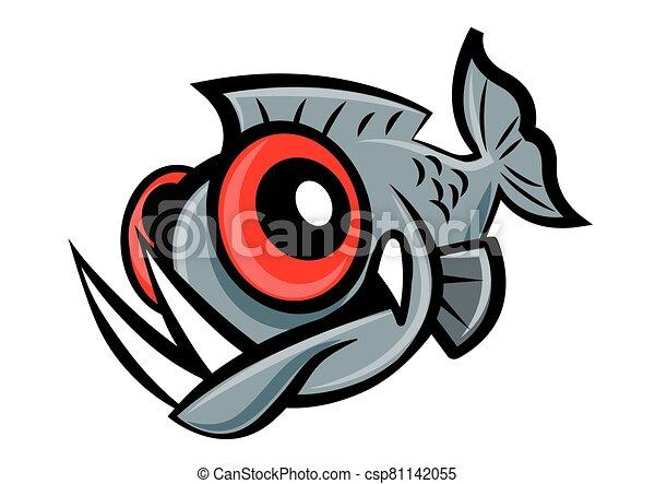 piranha, carattere, fish, carattere, carino, occhi, affilato, mascotte, cartone animato, denti, grande, vettore - csp81142055