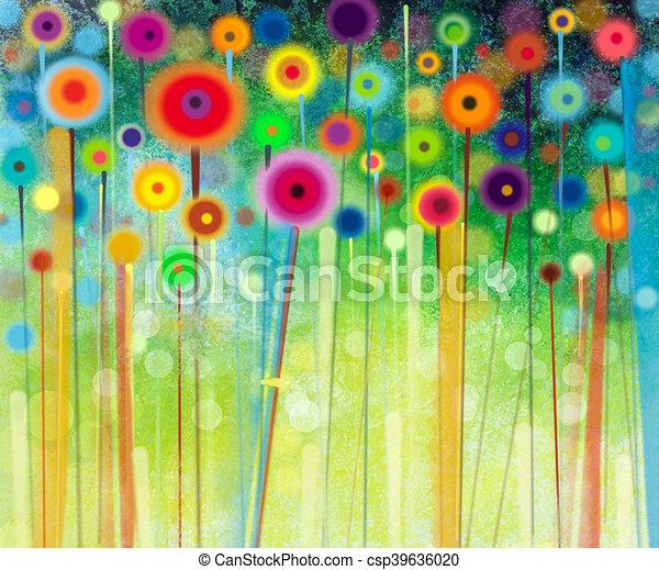 pittura, acquarello, astratto, fiore - csp39636020