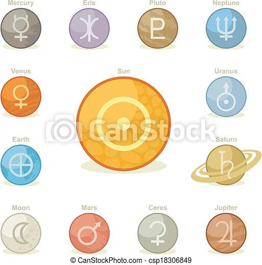 planetario, icone, pacco - csp18306849