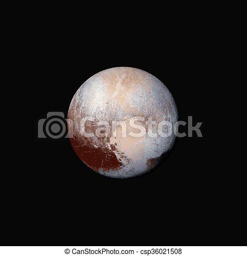 plutone, pianeta, vettore, realistico, illustrazione - csp36021508