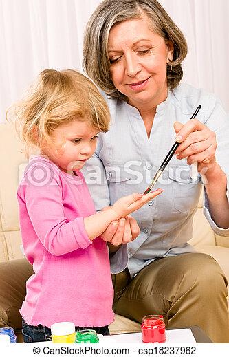 poco, gioco, nonna, vernice, handprints, ragazza - csp18237962