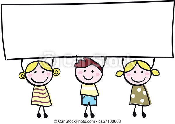 poco, presa a terra, bandiera, felice, vuoto, carino, -, ragazzo, ragazze, vuoto, cartone animato, illustration. - csp7100683