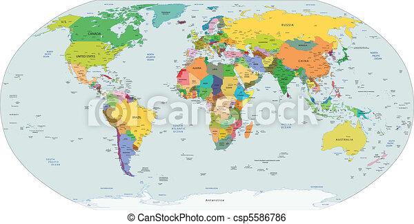politico, globale, mappa, mondo - csp5586786