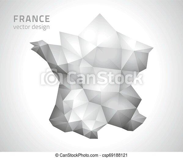 polygonal, mappa, vettore, grigio, francia - csp69188121