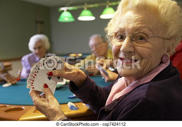 ponte, anziano, adulti, gioco - csp7424112