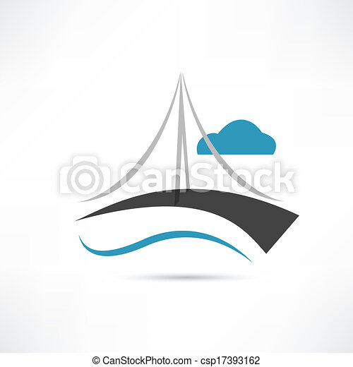 ponte, grande, vettore, icona - csp17393162