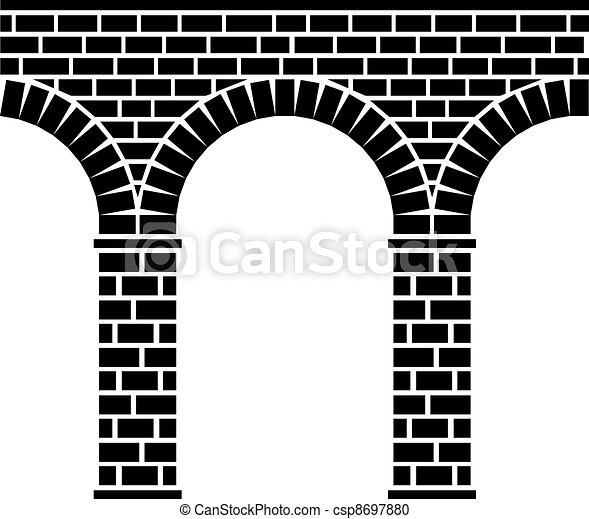 ponte, pietra, antico, acquedotto, viadotto, seamless, vettore - csp8697880