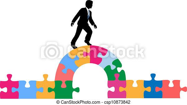 ponte, puzzle, soluzione, persona affari - csp10873842