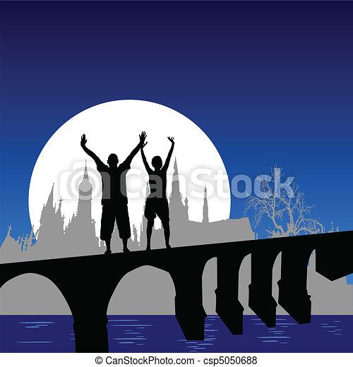 ponte, ragazza, vettore, illus, uomo - csp5050688