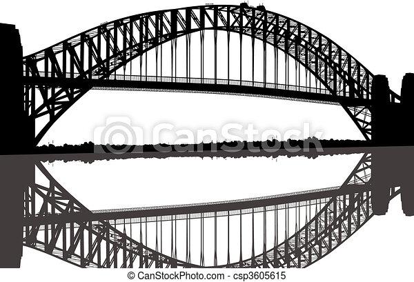 ponte, silhouette, porto sydney - csp3605615