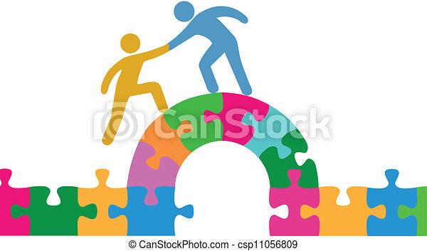ponte, unire, aiuto, persone, puzzle, risolvere - csp11056809