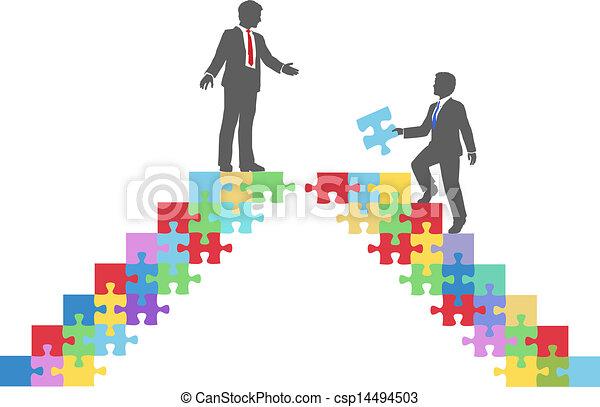 ponte, unire, persone affari, puzzle, collegare - csp14494503