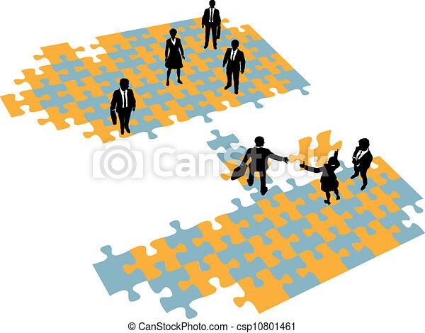 ponte, unire, persone affari, squadre, costruire - csp10801461