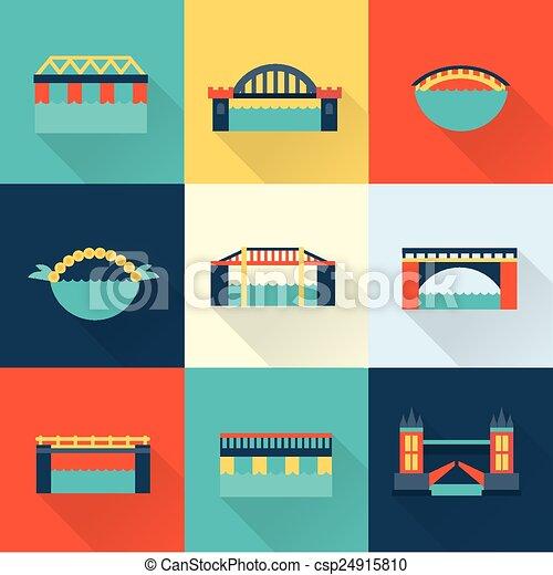 ponte, vettore, appartamento, icona - csp24915810