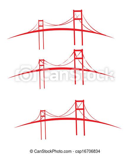 ponti, disegno, vettore, arte, rosso - csp16706834
