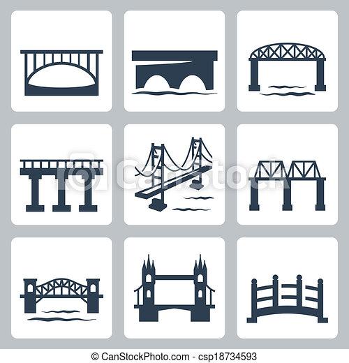 ponti, vettore, set, isolato, icone - csp18734593