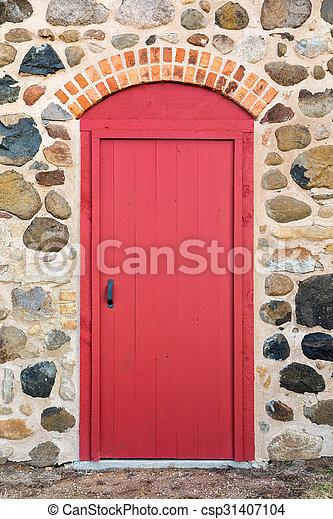 porta, pietra, arched, rosso, luminoso, parete - csp31407104