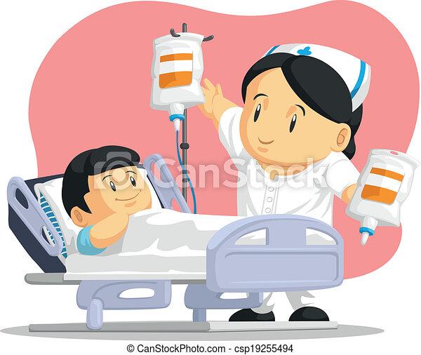 porzione, paziente infermiera, cartone animato - csp19255494