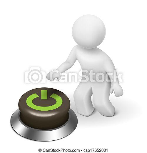 """power"", carattere, bottone, persona, umano, 3d - csp17652001"