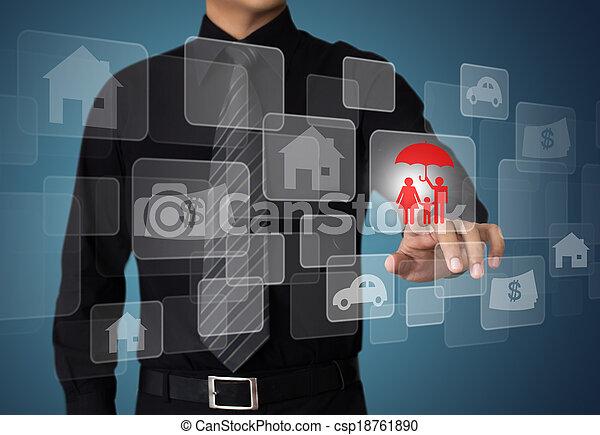premere, uomo affari, bottone, assicurazione - csp18761890