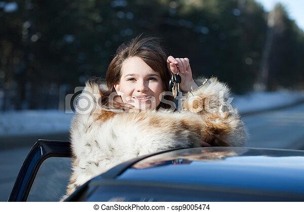 presa a terra, chiavi, donna, felice, automobile - csp9005474