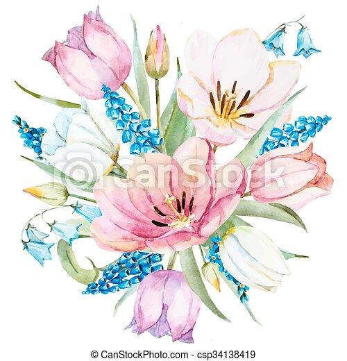 primavera, acquarello, vettore, fiori - csp34138419