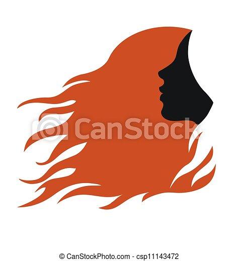 Profilo, capelli, donna, rosso, lungo. Capelli, testa ...