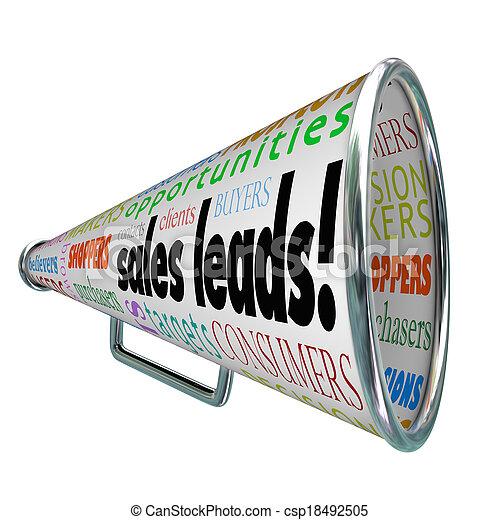prospettive, clienti, vendite, piombi, bullhorn, parole, nuovo, megafono - csp18492505