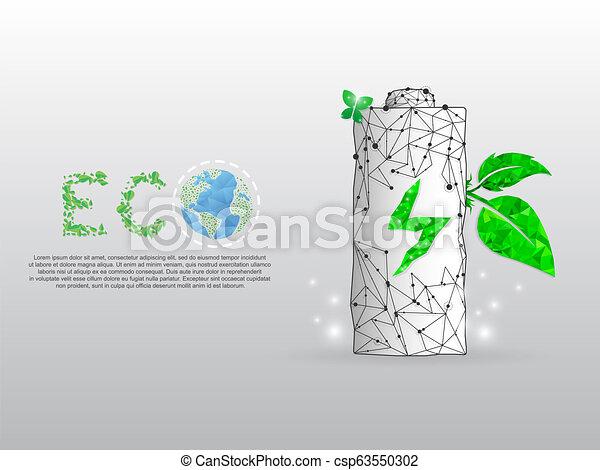 punto, batteria, esso, poly, energia, terra, triangoli, foglia, polygonal, fondo., basso, bianco, addebitare, wireframe, forma, eco, illustrazione, linee, grows, pianeta, vettore, verde - csp63550302