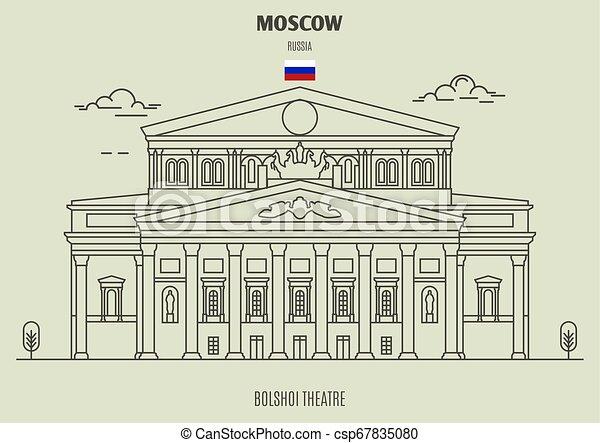 punto di riferimento, bolshoi, teatro, russia., icona, mosca - csp67835080