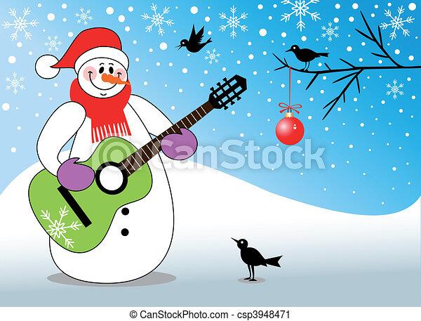 pupazzo di neve, chitarra gioca - csp3948471